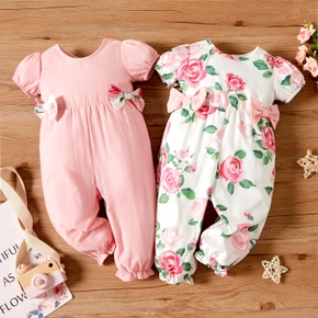 Baby Girl Solid/Floral Print Bow Decor Short-sleeve Jumpsuit