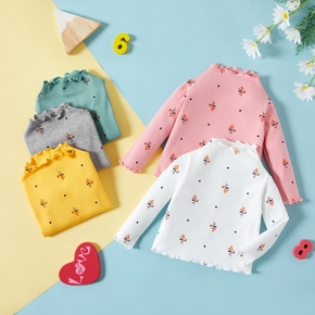 1pc Cotton Long-sleeve Baby Girl casual Floral Tee