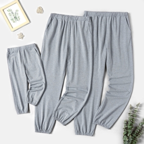 Solid Family Matching Grey Casual Pants