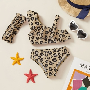 3pcs Baby Girl Leopard Swimsuit