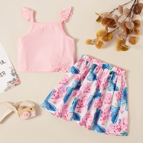2pcs Sweet Kid Girl Ruffled Top Floral & Butterfly Skirt Set