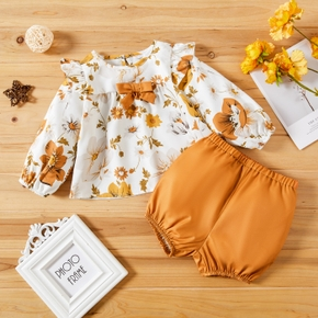 2-piece Baby Girl Floral Print Bowknot Long-sleeve Top and Elasticized Solid Shorts Set
