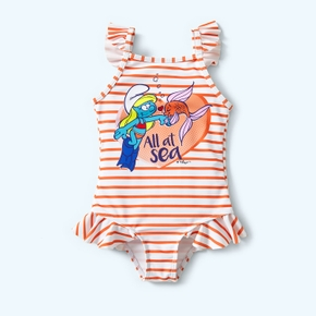 Smurfs Toddler Girl Stripe and Flounced Swimsuit One Piece