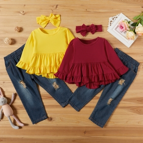 3-piece Baby / Toddler Ruffled Top and Denim Pants Set With Headband