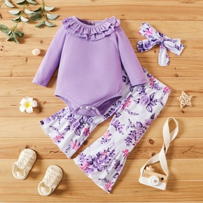 3-piece Baby Girl Ruffle Collar Long-sleeve Solid Romper, Floral Print Flared Pants and Headband Set