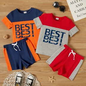 2-piece Toddler Boy Letter Print Colorblock Tee and Shorts Casual Set
