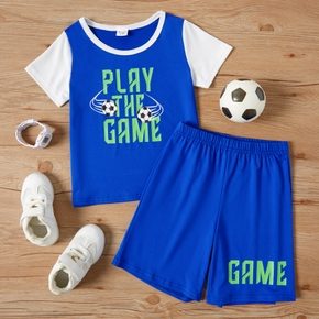 Football Print Color Contrast Tee and Shorts Athleisure Set for Toddlers/Kids