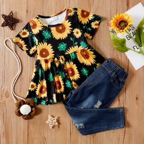 2-piece Baby/Toddler Girl Sunflower Top and Jeans Set