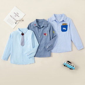 Fashionable Striped Pocket Embroidered Lapel Collar Shirt