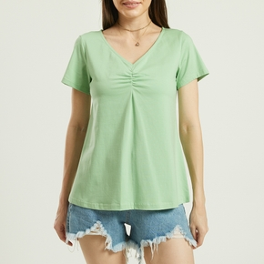 Casual Print V-neck Short Sleeve T-shirt