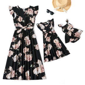 Black Floral Print Ruffle-sleeve Dresses for Mommy and Me
