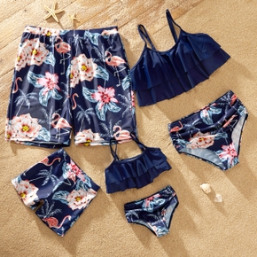 Family Look Solid Ruffle Top Floral Print Shorts Matching Swimsuit