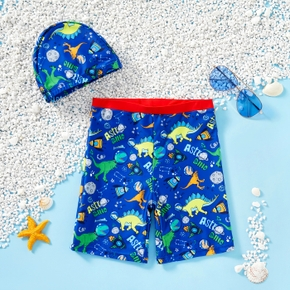 Kids Boy Dinosaur Allover Shorts with Hat Swimsuit Set