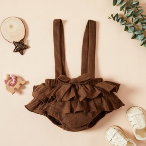 1pcs Baby Girl Ruffled layers Bowknot Solid Cotton Pants Overalls