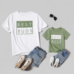 Letter Print White and Green Splice Print T-shirts for Dad and Me