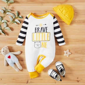 2pcs Baby Boy Letter Print and Stripe Long Sleeve Jumpsuits Set