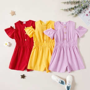 Kid Girl Short-sleeve Solid 100% Cotton Rompers
