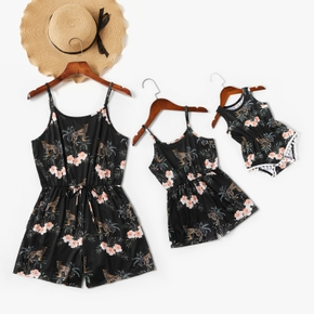 Floral and Leopard Print Matching Black Sling Shorts Rompers