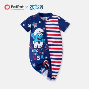 Smurfs 4th of July Stars and Stripe Baby One Piece