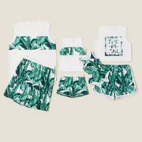 Leaf Print Color Block Tank Top and Shorts Family Matching Pajamas (Flame resistant )