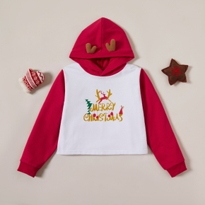 Stylish Christmas Letter Print Elk Hooded Sweatshirt