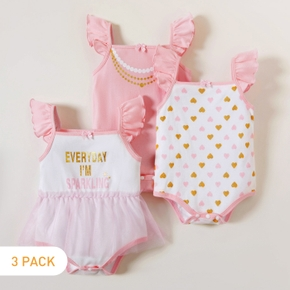 3-piece Baby Girl All-cotton Letter Love Allover Ruffled Bodysuits
