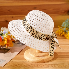 Baby / Toddler Leopard Ribbed Bowknot Hat