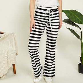 casual Stripes Elastic waistband Wide trousers pants