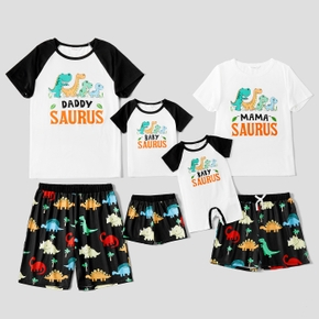 Dinosaur Letter Print Color Block Family Matching Pajamas (Flame resistant)