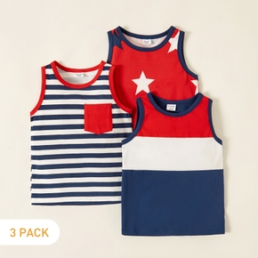 Trendy Toddler Boy /Toddler Girl Stripe Stars Pocket Multi-color Camisole Tee