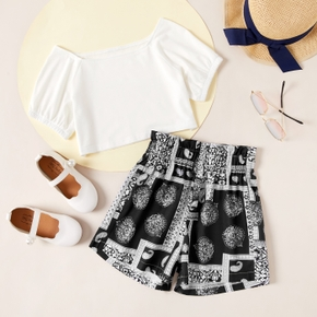 Stylish Kid Girl Bubble Sleeve Solid Top Geometric Shorts Casual Suits