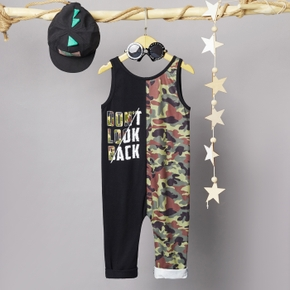 Toddler Boy Letter Camouflage Casual Jumpsuit