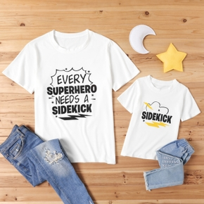 Sidekick Letter Print White T-shirts for Dad and Me