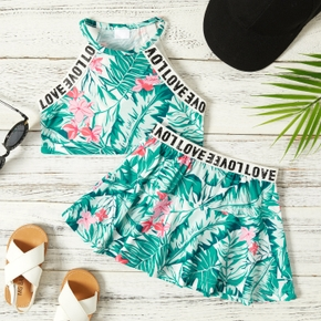 2-piece Toddler Girl Floral Letter Print Camisole and Sporty Dress Set