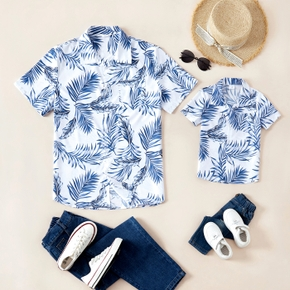 Leaf Print Blue Front Button Short Sleeve Shirts for Daddy and Me