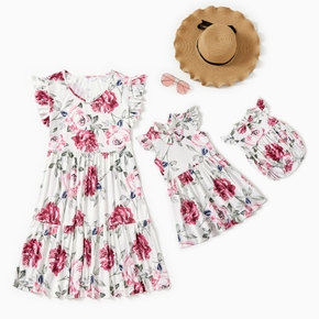 Floral Print Ruffle Dresses for Mommy and Me