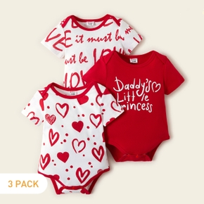3-piece Baby Girl Love Letter Print Bodysuits