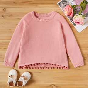 Toddler Girl Causal Solid Pompon Decor Long-sleeve Sweater
