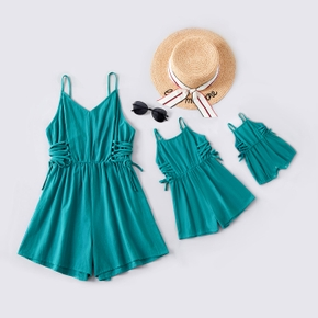 Solid Sleeveless Matching Sling Shorts Rompers
