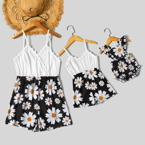 Floral Print Sleeveless Matching White Sling Shorts Rompers