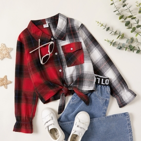 Fashionable Kid Girl Color-block block Plaid Shirt