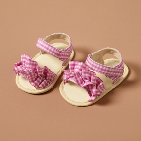 Baby / Toddler Grid Flounced Velcro Closure Sandals