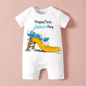 Smurfs Baby Boy/Girl First Father's Day Cotton Romper