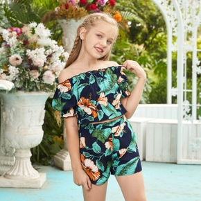 Kid Girl Flower Print Ruffled Green 2-piece Suits