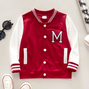 Toddler Boy 100% Cotton Letter Embroidery Striped Button Design Coat Jacket