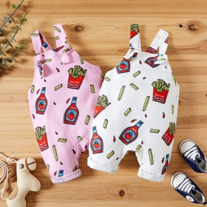 Baby Boy/Girl Food Print Strappy Jumpsuit