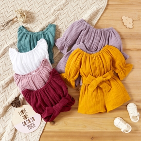Crepe Solid Ruffle and Bow Decor Half-sleeve Baby Romper