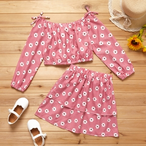 2-piece Kid Girl Floral Print Plaid Bowknot Off Shoulder Long-sleeve Top and Skirt Set