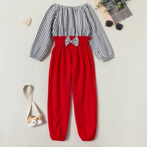 Kids Girl Striped Bowknot Jumpsuit Rompers