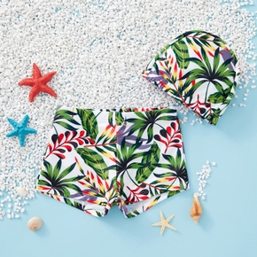 Baby / Toddler Boy Summer Plant Print Swimsuit With Hat